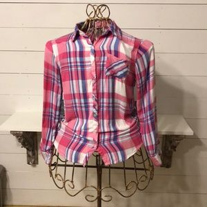 Justice Pink / Blue Button Down Flannel . Size 14